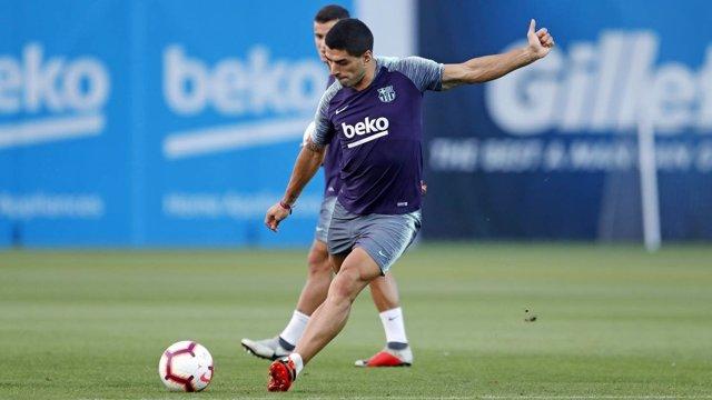El jugador del FC Barcelona Luis Suárez en un entrenamiento