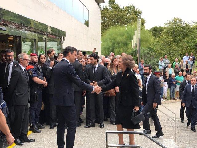 El presidente Pedro Sánchez y la Reina Sofía en el funeral de Montserrat Caballé
