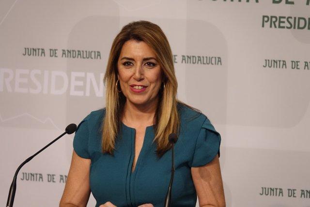 La presidenta de la Junta, Susana Díaz, durante la entrevista con Europa Press