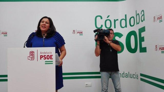 Dolores Amo en la sede del PSOE de Córdoba
