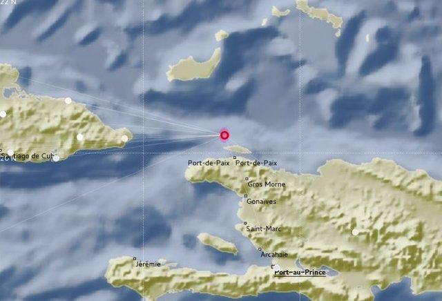 Imagen del  Servicio sismológico cubano, epicentro del terremoto