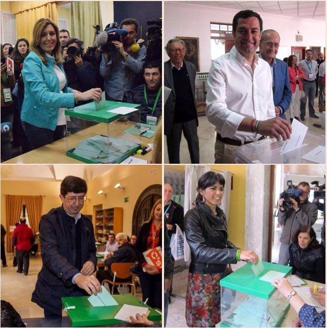 Susana Díaz, Juanma Moreno, Teresa Rodríguez y Juan Marín, votando