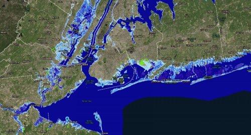 Znas inundables por el aumento del nivel del mar alrededor de Nueva York