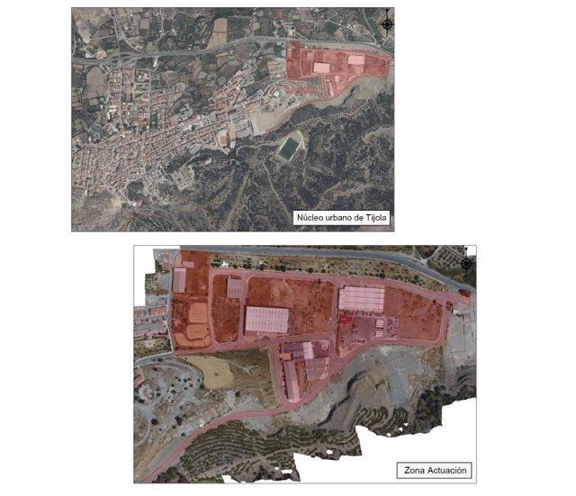 Mapa del área del polígono industrial de Tíjola donde se va a actuar.
