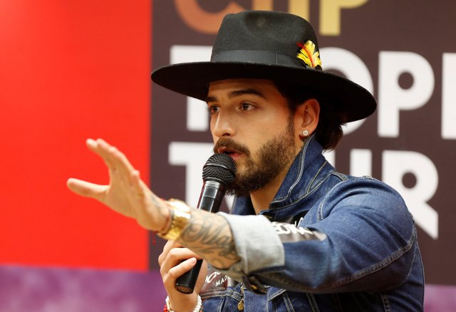 Colombian singer Maluma, speaks during a news conference as part of the world to