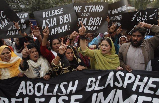 Manifestación contra la condena a muerte a Asia Bibi por blasfemia