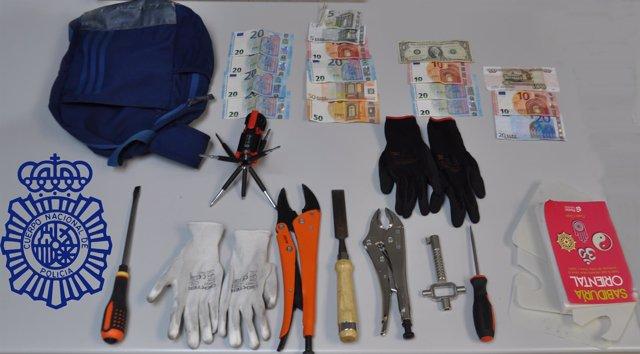Objetos incautados tras el arresto
