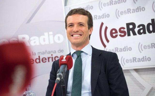 Entrevista al presidente del PP, Pablo Casado, en Es Radio