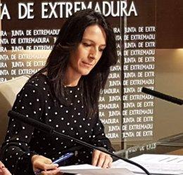 Esther Gutiérrez en rueda de prensa hoy tras el Consejo de Gobierno de la Junta