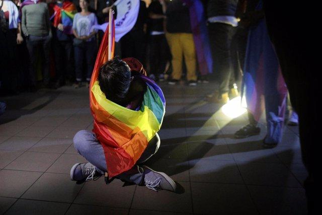 Activista LGTBI en Bucarest (Rumanía)