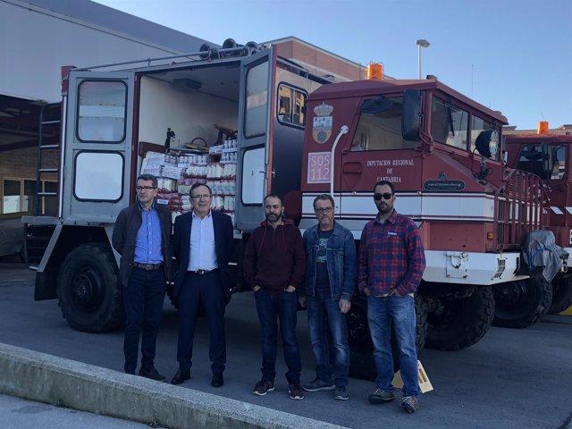 Camiones que Torrelavega envía al Sáhara