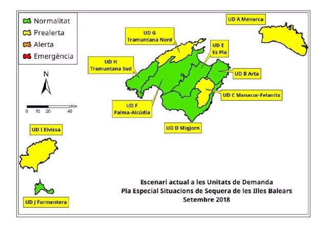 Mapa de las reservas hídricas de Baleares en septiembre