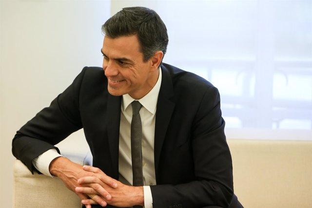 Pedro Sánchez se reúne con el presidente del Gobierno de Aragón, Javier Lambán