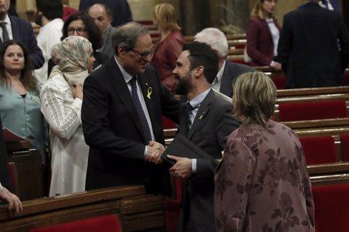 Quim Torra y Roger Torrent en el Parlament