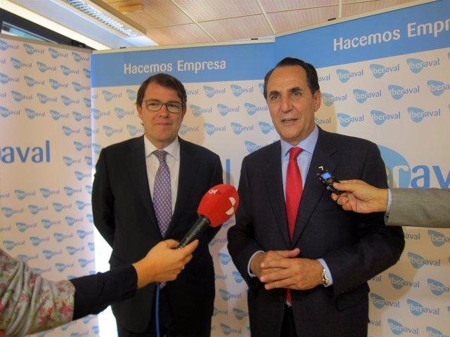 Fernandez Mañueco y José Rolando Álvarez, en Iberaval.