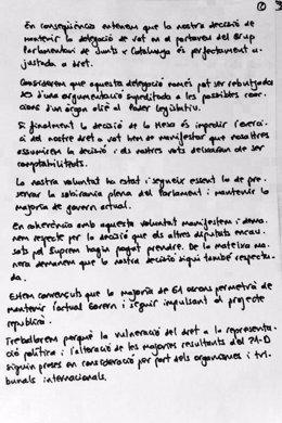 Carta de los diputados de JxCat suspendidos