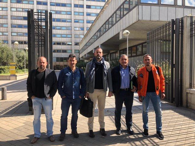 Los miembros de USO tras la reunión con el Instituto Minero 9-10-2018