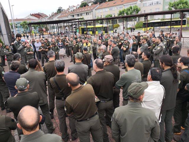 Protesta de agentes forestales y medioambientales en Santiago