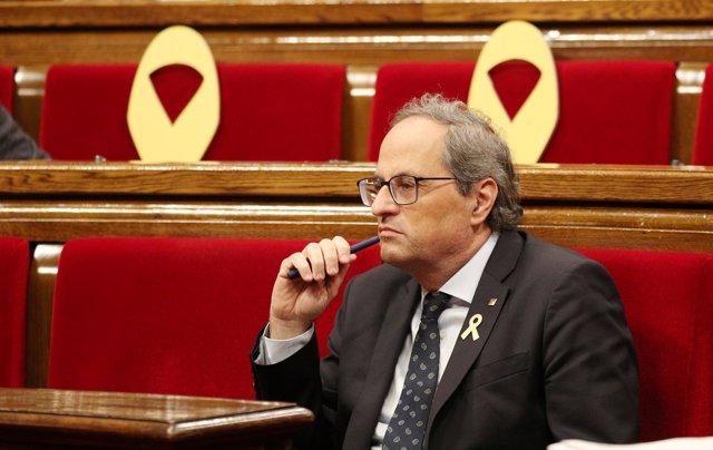El presidente de la Generalitat Quim Torra en el Parlament