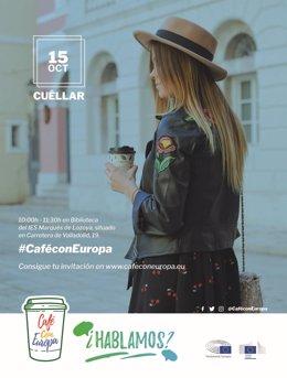 Cartel 'Café con Europa' en Cuéllar  9-10-2018