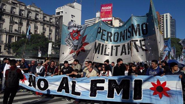 Marcha contra el préstamo del FMI en 2018