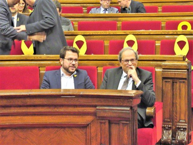 Vicepte. Pere Aragonès, pres. Quim Torra, en el ple del Parlament