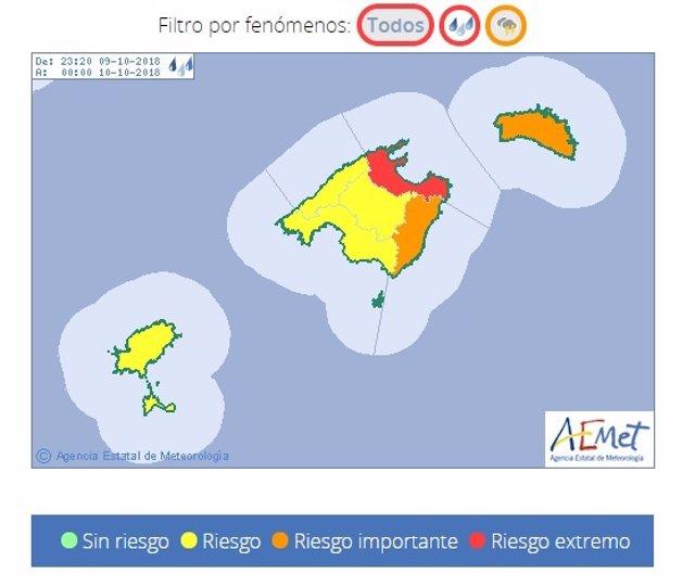 Aemet activa el aviso rojo por lluvias en el norte y nordeste de Mallorca