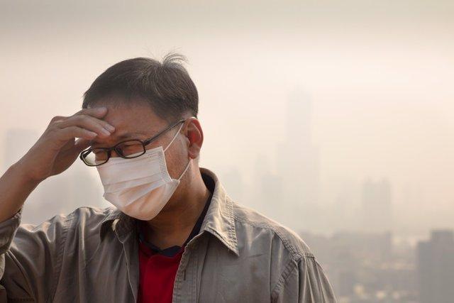 Hombre, contaminación, mascarilla, enfermo, enfermedad