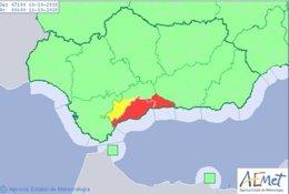 Aviso de nivel rojo activo en la costa de Málaga
