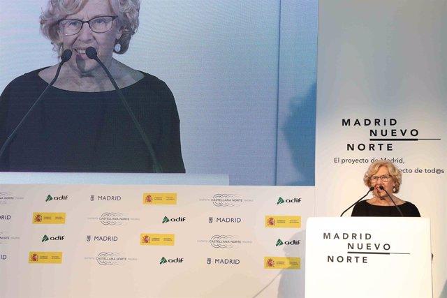 La alcaldesa de Madrid, Manuela Carmena, presentan Madrid Nuevo Norte