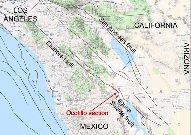 Nueva sección que enlaza fallas entre California y México