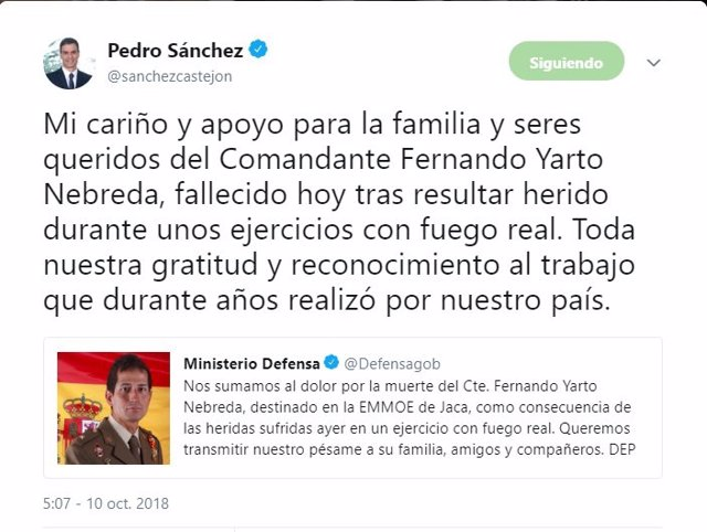 Tweet de Pedro Sánchez con condolencias por la muerte del comandante Yarto