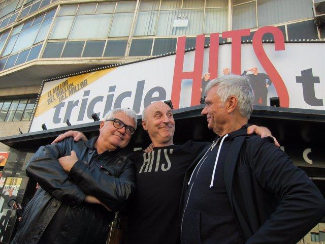 Los integrantes de Tricicle, Joan Gràcia, Paco Mir y Carles Sans