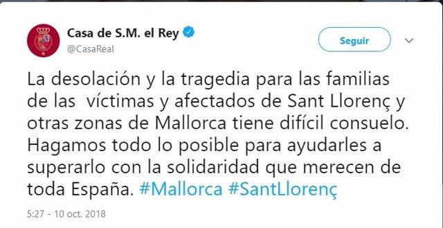 Tweet de la Casa Real tras las inundaciones en Sant Llorenç
