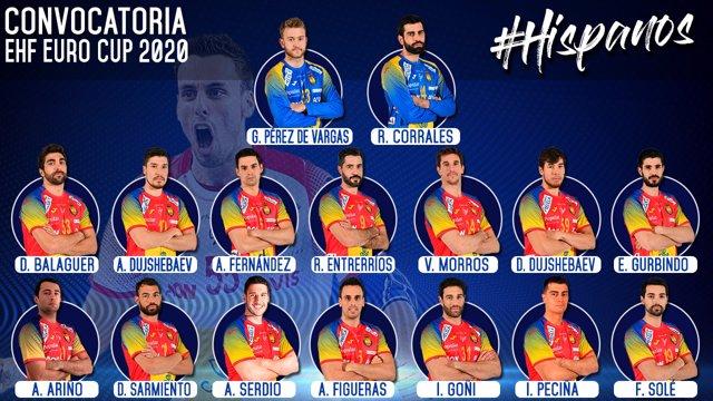 Convocatoria de España para las primeras jornadas de la EHF EURO CUP
