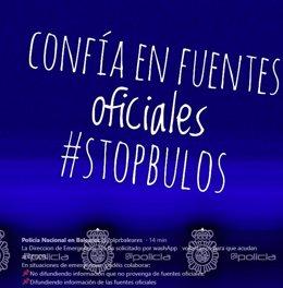 Imagen de la Policía Nacional sobre los bulos tras las inundaciones