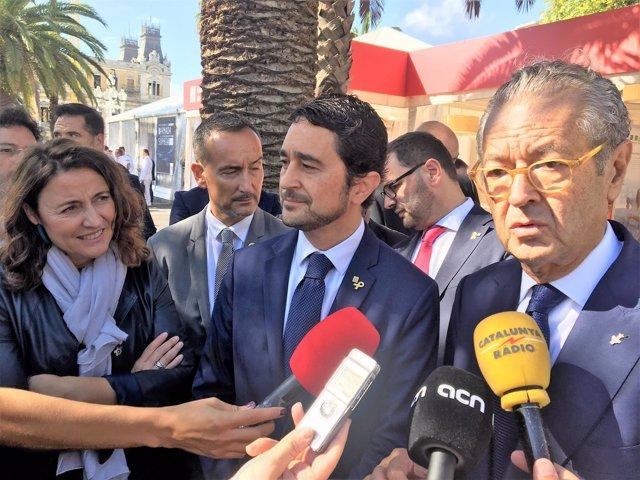 Mercè Conesa, Damià Calvet y Luis Conde en el Salón Náutico