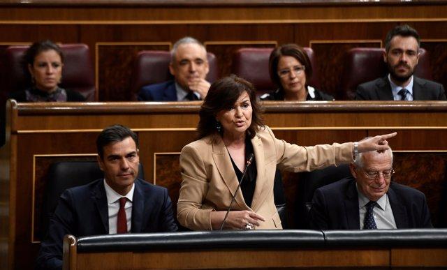 Carmen Calvo en la sesión de control