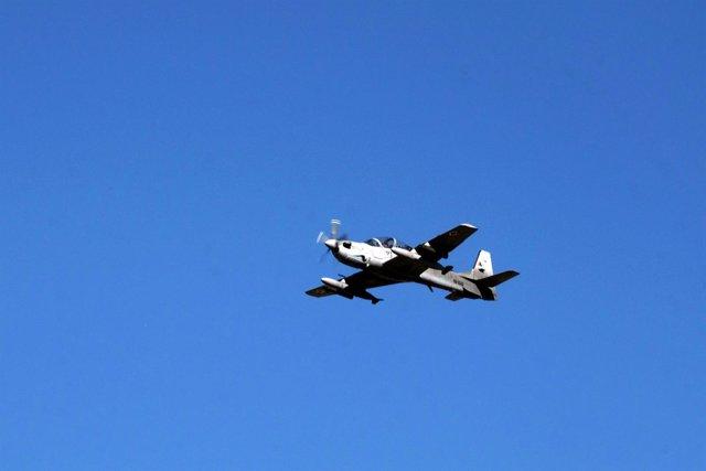 Un avión de combate A-29 de la Fuerza Aérea afgana