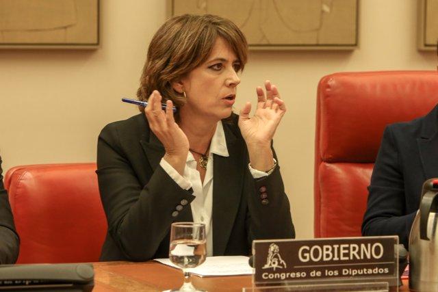 La ministra de Justicia, Dolores Delgado, comparece en la Comisión de Justicia del Congreso