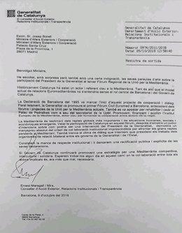 Carta del conseller E.Maragall al ministro J.Borrell