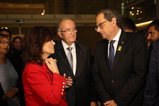 Vicepta. Carmen Calvo, Josep González (Pimec), Pres. Quim Torra