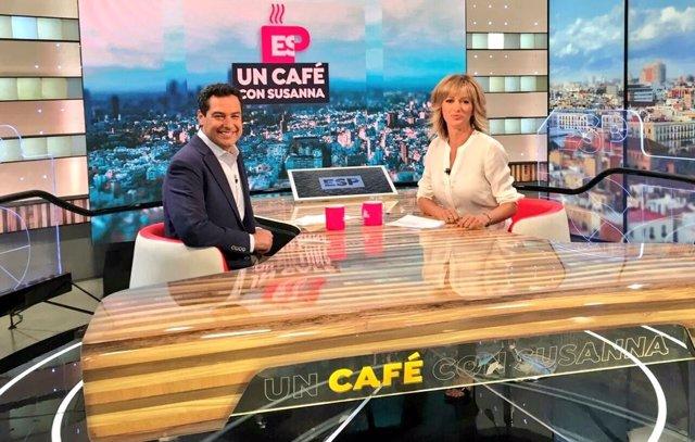 Juanma Moreno entrevistado en Antena 3 TV