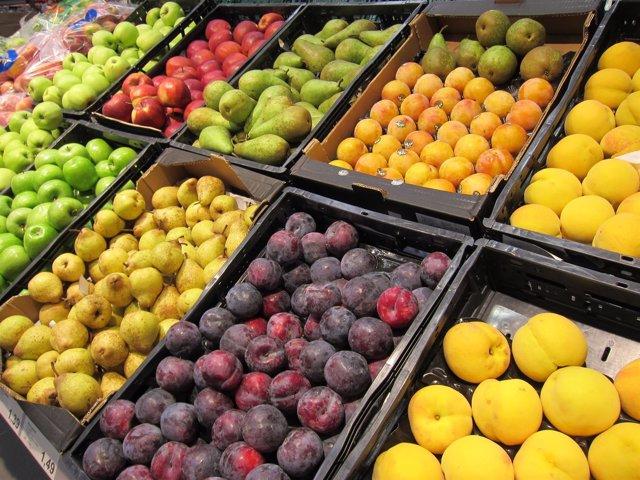 Manzanas, peras, ciruelas, melocotones, fruta, supermercado, consumo, IPC