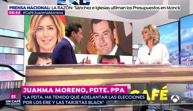 Juanma Moreno durante una entrevista