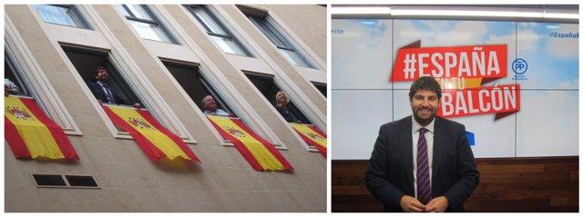 López Miras despliega la bandera, a la izquierda, y presenta la campaña