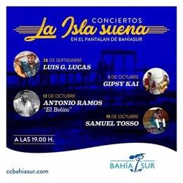 Cartel de presentación del ciclo de conciertos 'La isla suena' en Bahía Sur