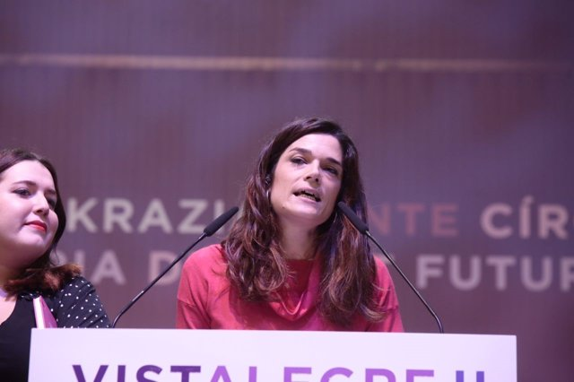 Clara Serra y Ángela Rodríguez en el congreso de Vistalegre de Podemos