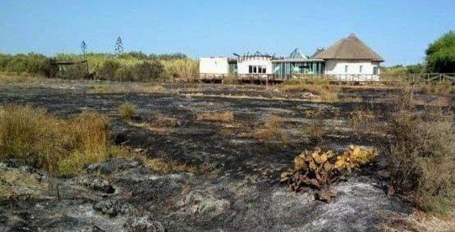 Incendio de la zona de 'El Camaleón' de Chipiona