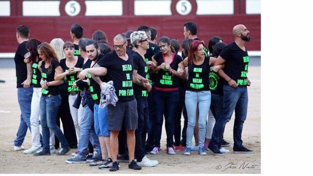 Activistas antitaurinos en la plaza de Las Ventas